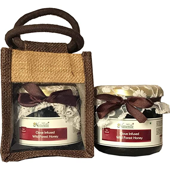 Farm Naturelle- Jute Gift Bag with Pure Raw Natural Unheated Unprocessed Real Clove Infused Forest Honey -450 GMS .