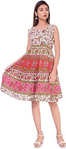 Women S Jaipuri Printed Cotton Short Maxi Dress Pink Free Size Upto 40 Large