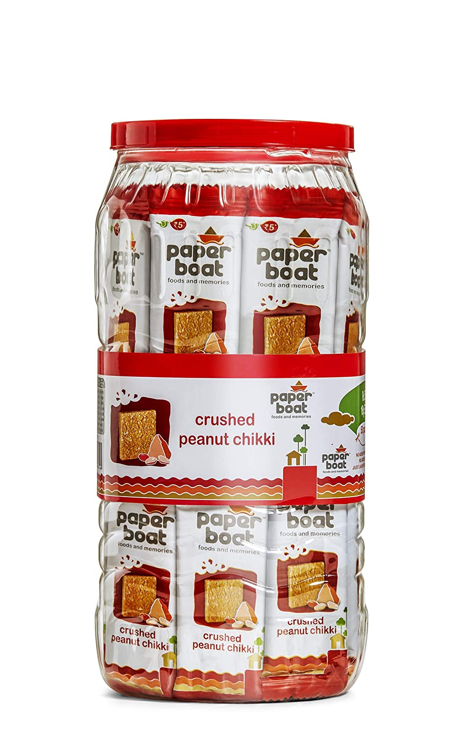 Paper Boat Crushed Peanut Chikki Jar, No Added Preservatives and Colours (50 pieces, 16g each)