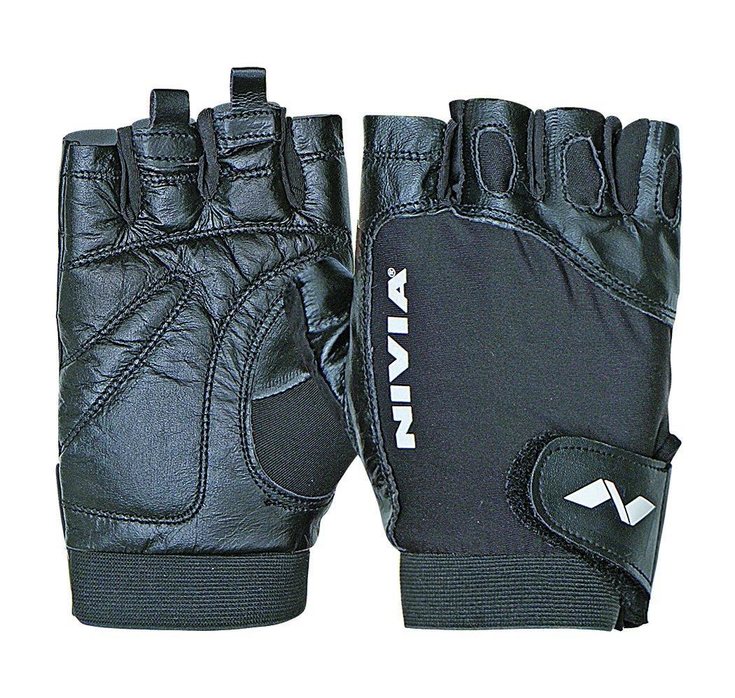 Nivia Genuine Leather Gloves (Black)