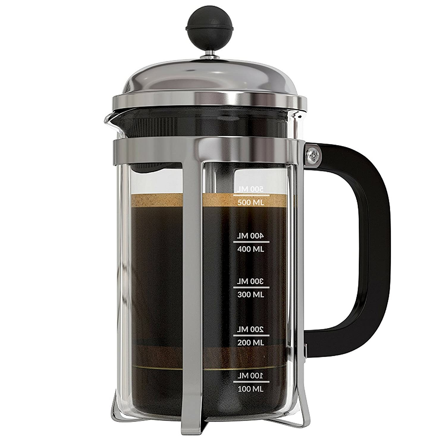 coffee maker coffee machine InstaCuppa French Press Coffee Machine with 4 Part Superior Filtration 600 ML, Stainless Steel.