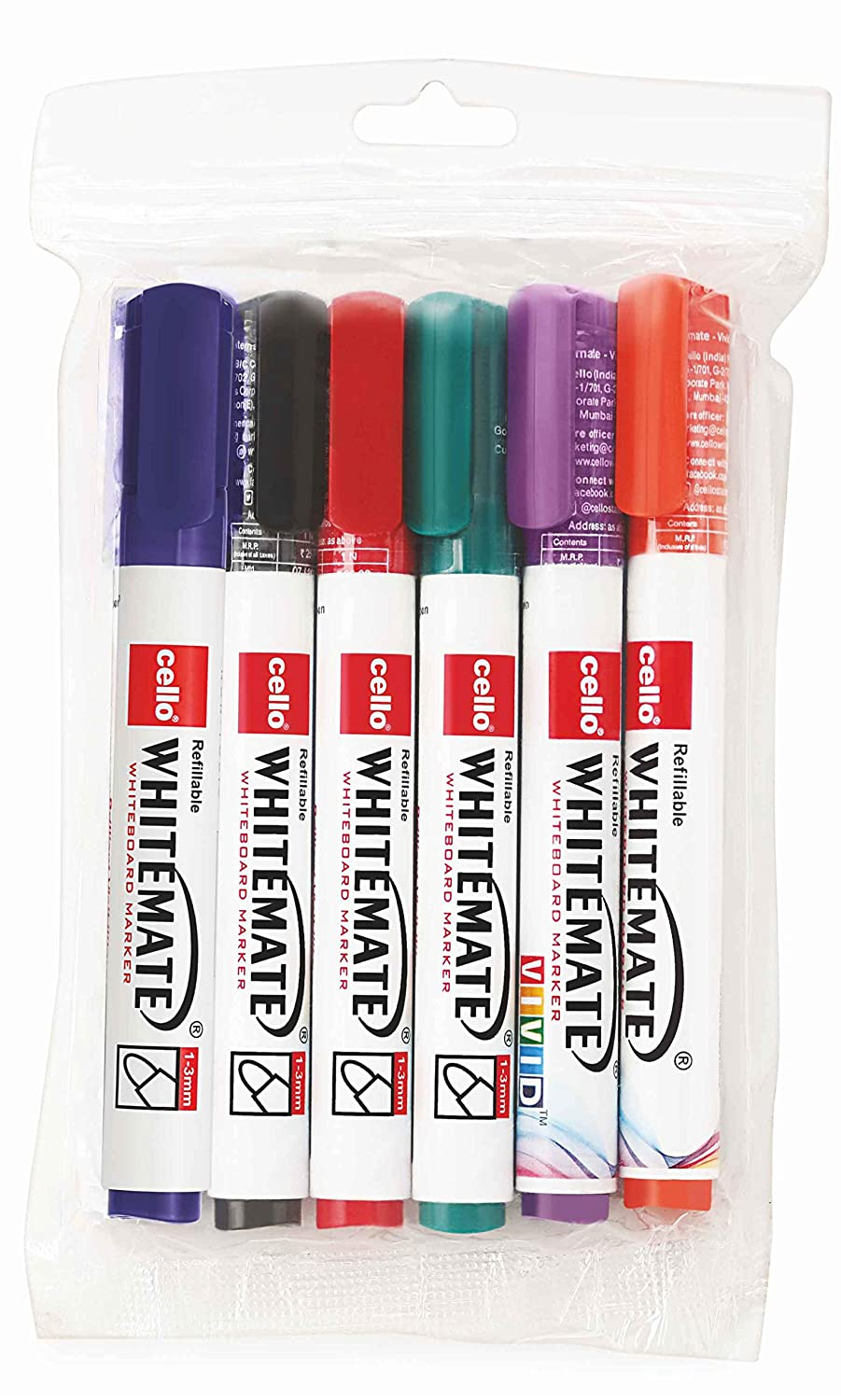 Cello Whitemate Whiteboard Markers - Set of 6 (Multicolored)