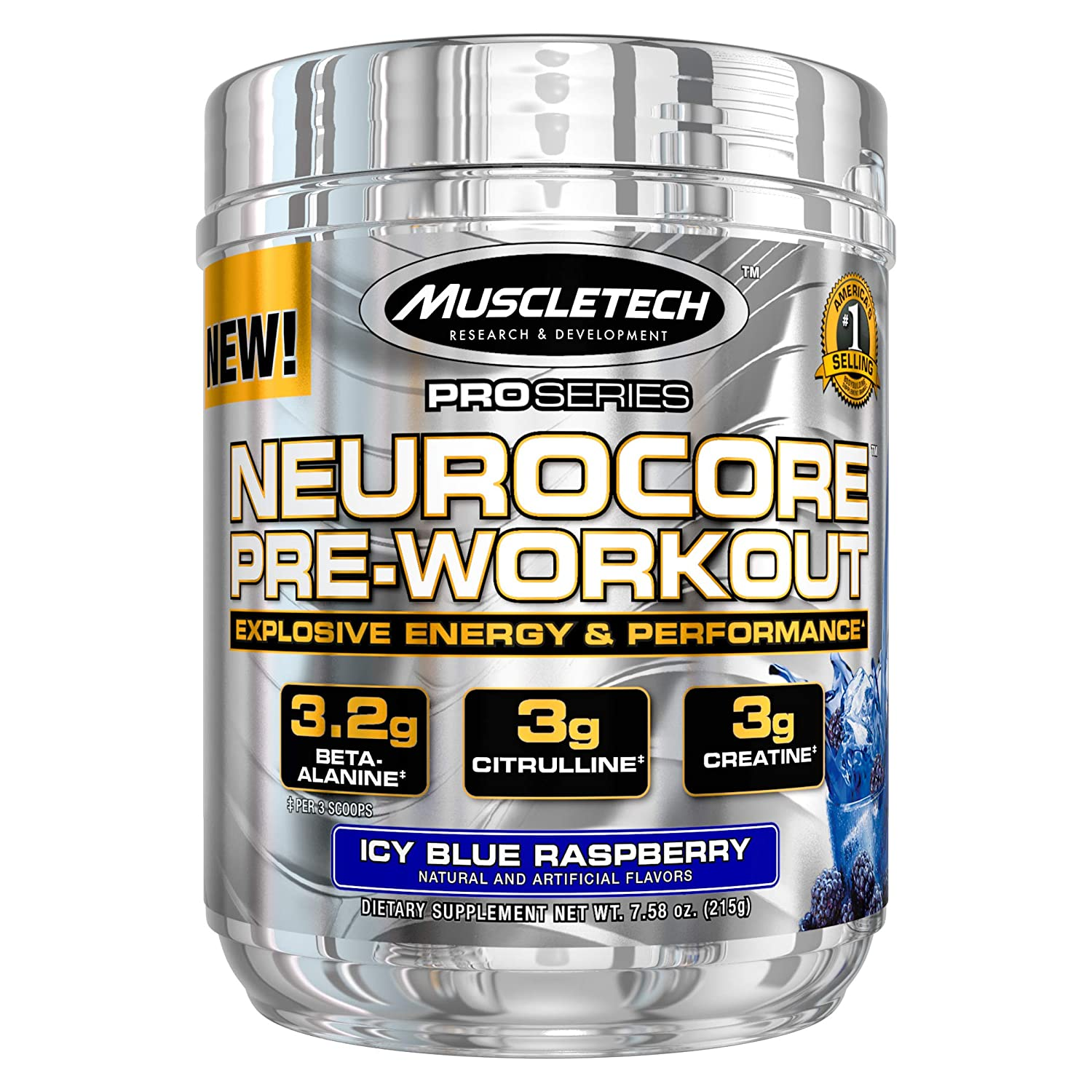 [50% off] Muscletech Proseries Neurocore Pre-Workout (50 Servings, 3.2 Beta Alanine, 3g Citrulline, 3g Creatine) - 215g (Icy Blue Raspberry)