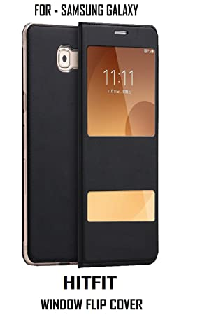 HITFIT Pure Leather Window Flip Cover for Samsung Galaxy J7 2016   Black Floor Trays