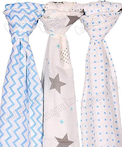 Cottington Lane Multipurpose Swaddle Wrap Blanket For Newborn Baby 120 X 120 Cm Extra Large For 0 12 Months Multicolour Pack Of 3