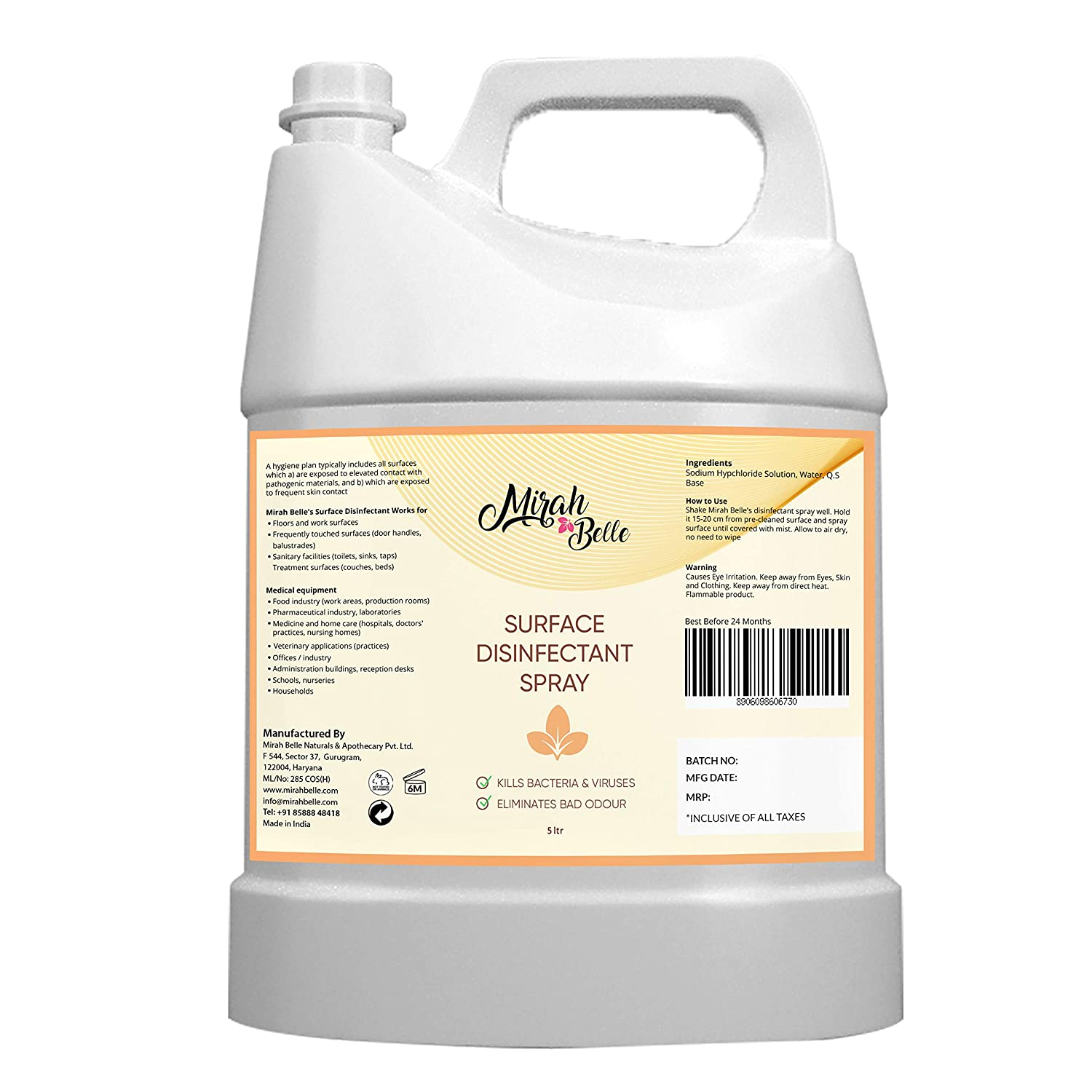[Apply coupon] Mirah Belle - Surface Disinfectant Can (5 LTRS) - Hard and Soft Surfaces - Advanced Cleaner and Sanitizer - Large Bulk Pack - Best for Home, Offices, Door Handles, Cars and Bathrooms