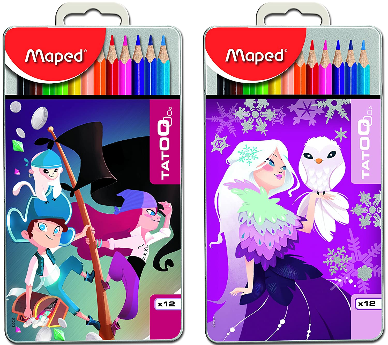 Maped Color'Peps Color Pencil Set with Tatoo Box - Pack of 12