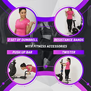 exercise bike with fitness accesssories