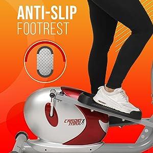 anti slip footrest elliptical trainer