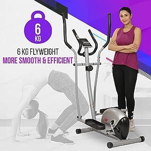 6 kg flywheel smooth magnetic elliptical