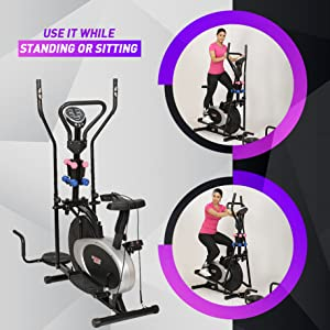exercise cycle sitting or standing