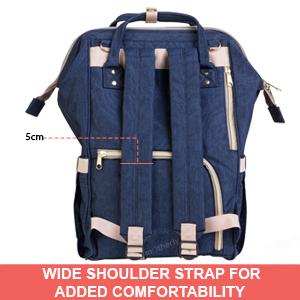 wide shoulder strap of motherly diaper bag